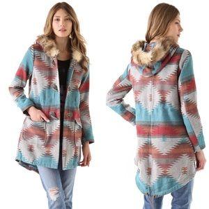 BB Dakota Koa Faux Fur Durango Pattern Coat XS